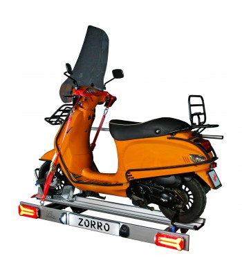 Zorro, foldable scooter carrier for motorhome with LED lighting